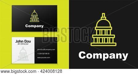 Logotype Line White House Icon Isolated On Black Background. Washington Dc. Logo Design Template Ele
