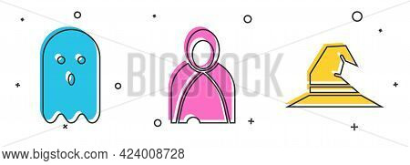 Set Ghost, Mantle, Cloak, Cape And Witch Hat Icon. Vector