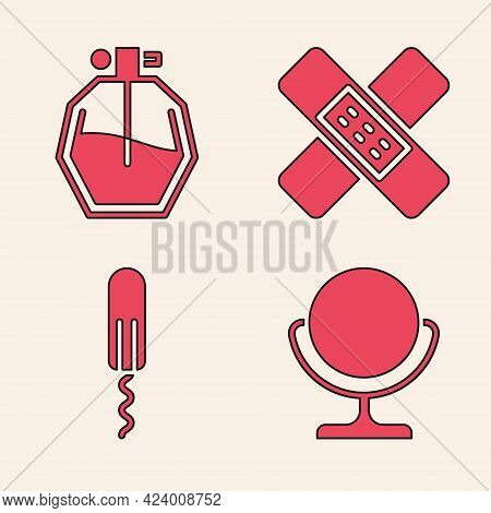 Set Round Makeup Mirror, Perfume, Crossed Bandage Plaster And Sanitary Tampon Icon. Vector