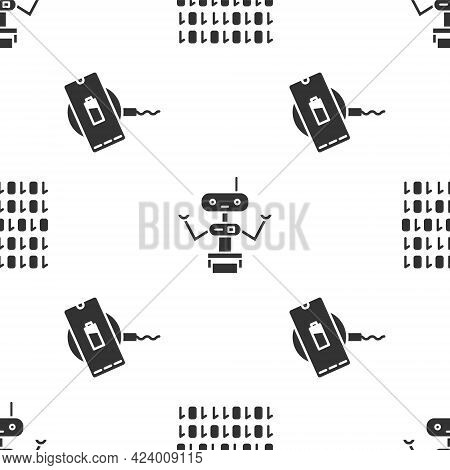 Set Binary Code, Robot And Wireless Charger On Seamless Pattern. Vector