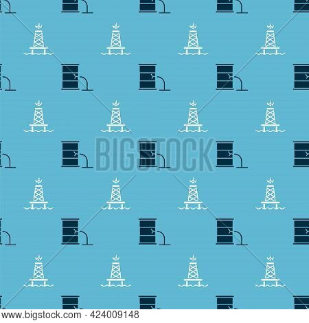 Set Barrel Oil Leak And Oil Rig With Fire On Seamless Pattern. Vector