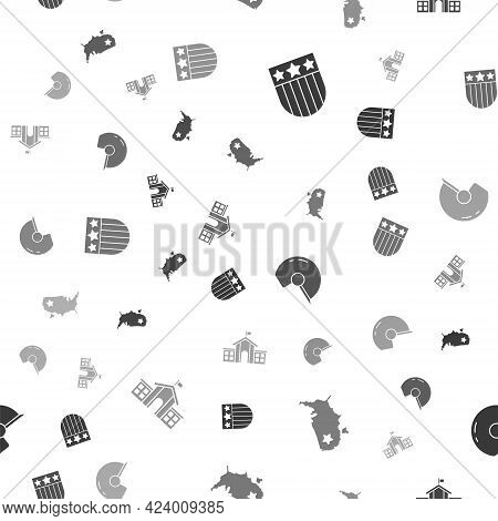 Set Shield With Stars, Usa Map, Baseball Helmet And United States Capitol Congress On Seamless Patte