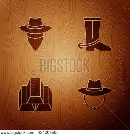 Set Western Cowboy Hat, Cowboy, Gold Bars And Boot On Wooden Background. Vector