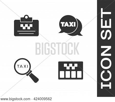 Set Taximeter, Driver License, Magnifying Glass And Taxi Car And Call Telephone Service Icon. Vector