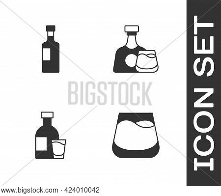 Set Glass Of Whiskey, Wine Bottle, Bottle Vodka With Glass And Whiskey And Icon. Vector