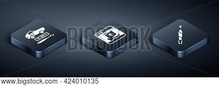 Set Isometric Car Theft, Marijuana Joint And Internet Piracy Icon. Vector