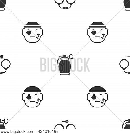 Set Handcuffs, Grenade And Bandit On Seamless Pattern. Vector