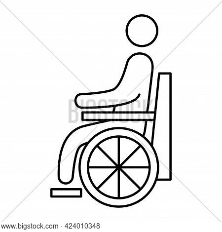 Handicapped Patient Line Icon. Wheelchair Person Symbol. Disabled Man Outlines Vector Icon. Can Be U