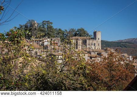 Mountain View Of Medieval Borgo Orvinio In Lazio In Italy
