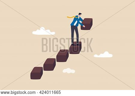 Build Business Success Stairs, Self Development Or Career Growth And Job Improvement, Growing Up Or