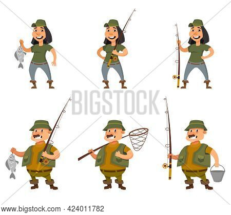Fisherman And Female Angler In Different Poses. Characters In Cartoon Style.
