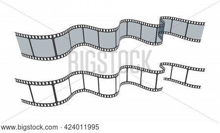 Set Of Blank Cinema Film Strip Frames. Film Strip In Perspective.art Design Filmstrip For Advertisem