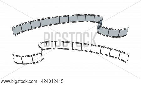 Set Of Film Strip For Camera Or Projector Isolated On White Background. Sketch Empty Frame Film Stri
