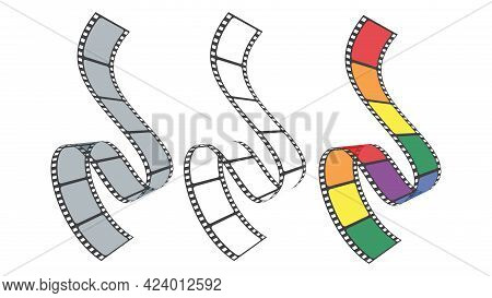 3d Isometric Film Strip In Perspective. Set Of Multicolor Film Strip For Camera Or Projector Isolate