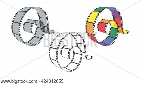 Film Strip In Perspective. Collection Blank Cinema Film Strip Frames Of Different Colors. Art Design