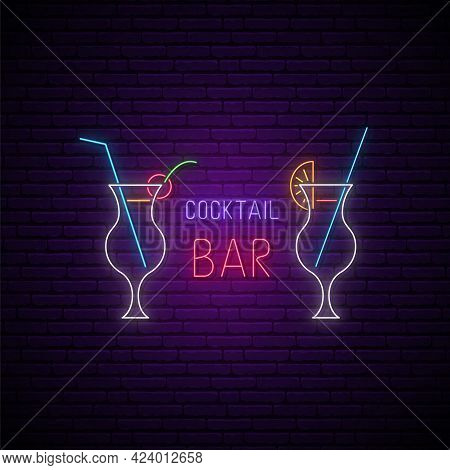 Neon Cocktail Bar Signboard. Glowing Cocktail Glasses With Straws And Text. Stock Vector Illustratio
