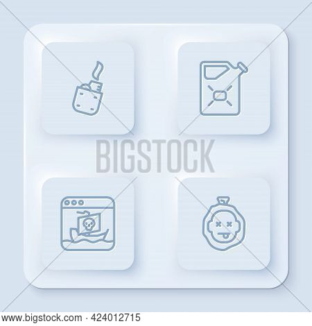 Set Line Lighter, Canister Fuel, Internet Piracy And Murder. White Square Button. Vector