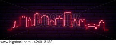Red Neon Skyline Of Long Beach, California. Bright Long Beach City Long Banner. Vector Illustration.