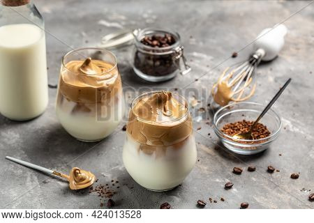 Dalgona Coffee. Korean Coffee Drink, Whipped Trend Drink With Coffee Foam And Milk. Trendy Drink Lat