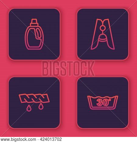 Set Line Bottle For Cleaning Agent, Squeeze Clothes, Clothes Pin And Temperature Wash. Blue Square B