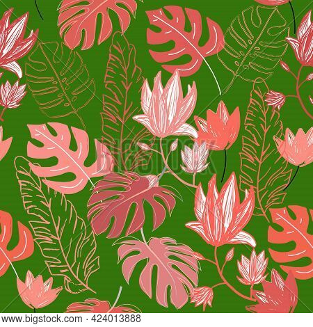 Vector Seamless Vibrant Coral And Green Jungle Pattern With Monstera Leaves Countours, Palm Leaves,