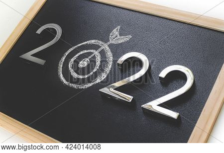 2022 Of Centre Target Of Dartboard. Business Hitting To Achieve Target In 2022 Year.