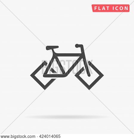 Bicycle With Square Wheels Flat Vector Icon. Hand Drawn Style Design Illustrations.