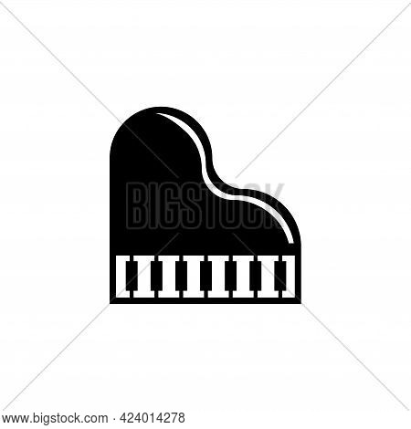 Grand Piano, Musical Instrument. Flat Vector Icon Illustration. Simple Black Symbol On White Backgro