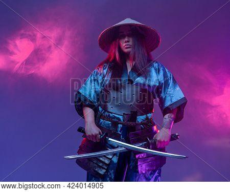 Futuristic Woman Samurai With Dual Katanas Across
