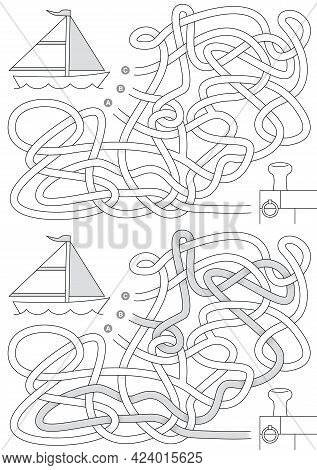 Sailboat Maze For Kids With A Solution In Black And White