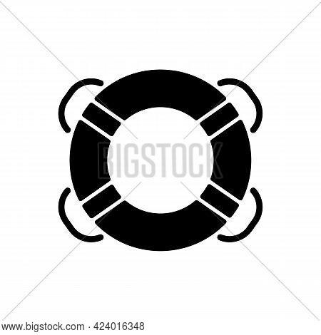 Ring Buoy Black Glyph Icon. Life Preserver. Round Floatation Device. Assisting Beginner Swimmer. Swi
