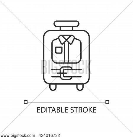 Open Suitcase With Clothing Linear Icon. Garments And Apparel In Traveller Baggage. Thin Line Custom