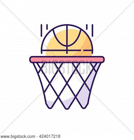 Basketball Rgb Color Icon. Team Sport For Exercise. Scoring Goal With Shooting Ball In Hoop. Isolate
