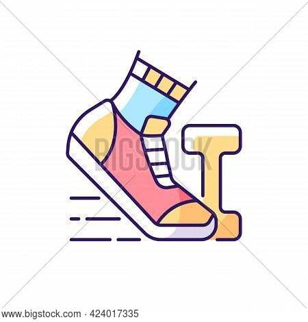 Morning Workout Rgb Color Icon. Running In Mornings For Daily Exercise. Outdoor Sport. Jogging As He