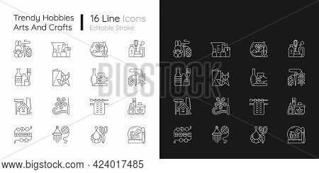 Trending Hobbies Linear Icons Set For Dark And Light Mode. Home Business. Boho Style. Craft Activity