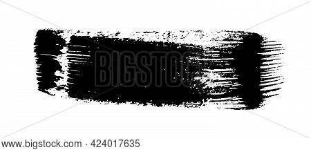 Black Grunge Brush Stroke. Painted Ink Stripe. Ink Spot Isolated On White Background. Vector Illustr