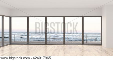 Empty Sea View Living Room With Wooden Floor And Empty White Wall Background In Beach House 3d Rende