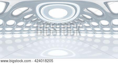 Full 360 Degree Equirectangular Panorama Hdri Of Modern Futuristic Bright Conrete Building Dome 3d R