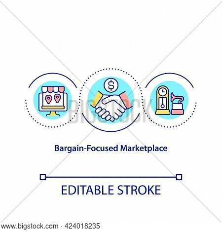 Bargain Focused Marketplace Concept Icon. Making Deals Online. Selling Items In Remote Shops. Market