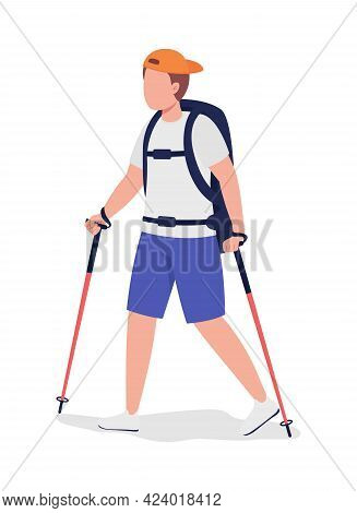 Boy On Hiking Trip Semi Flat Color Vector Character. Trekker Figure. Full Body Person On White. Outd