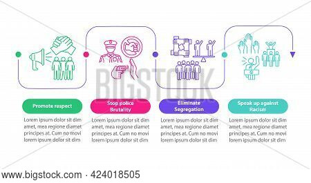 Confronting Racism Vector Infographic Template. Promote Respect Presentation Outline Design Elements