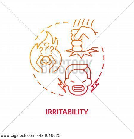 Irritability Concept Icon. Emotional Problems. Disease Symptomps. Human Health Problems. Diabetes Re