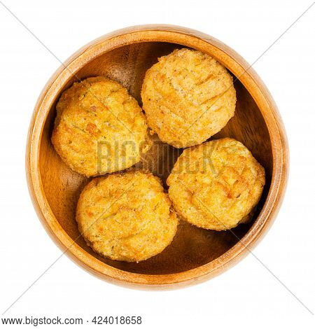 Pre-fried Vegan Falafel Balls, In A Wooden Bowl. Group Of Ball Shaped Fritters, Based On Chickpeas A