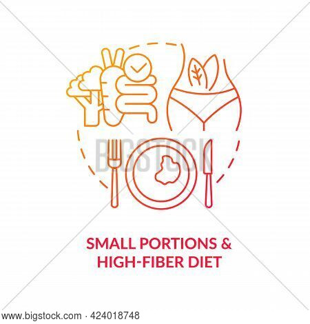 Small Portions And High Fiber Diet Concept Icon. Eating In Small Devided Portions. Healthy Diet For
