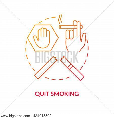 Quit Smoking Concept Icon. Fight With Unhealthy Habits. Treatment Of Human Healh Problems. Organs Pr