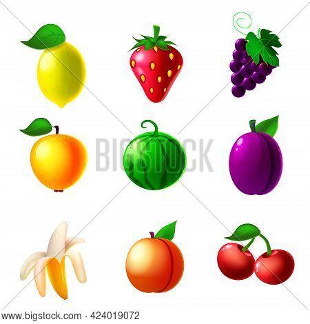 Fruit Machine Slot Icons Set, Lemon, Strawberry, Grapes, Apple, Watermelon, Plum, Banana, Peach, Che