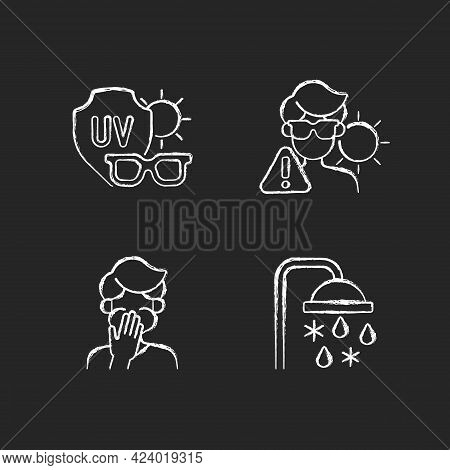 Uv Rays Exposure Risk Chalk White Icons Set On Dark Background. Sunglasses To Protect Eyes From Sunl