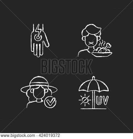 Sunstroke And Sunburn Chalk White Icons Set On Dark Background. Heatstroke Symptoms. Cramp In Body.