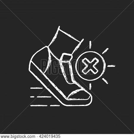 No Sports In Sun Heat Chalk White Icon On Dark Background. Safety For Athlete. Caution During Runnin
