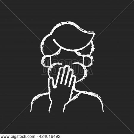 Nausea Chalk White Icon On Dark Background. Sick Person Covering Mouth. Ill Man With Stomachache Rea
